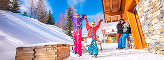Winter vacations chalet skier